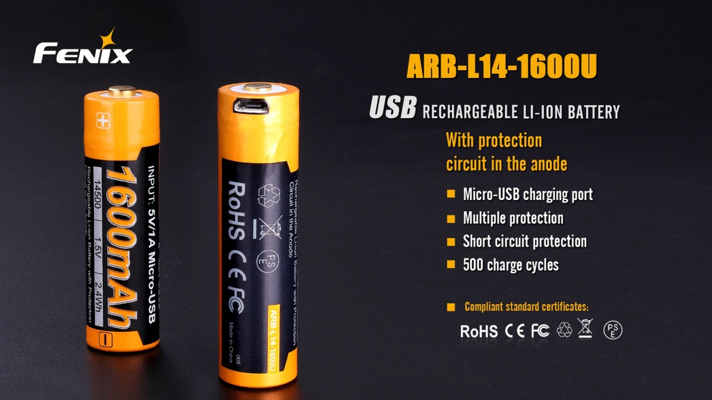 ARB-L14-1600U 14500 1.5V Li-ion Build-In USB Charging Port Rechargeable Battery
