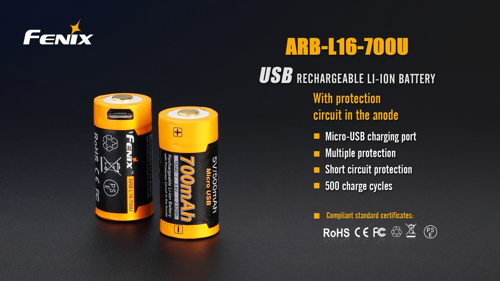 ARB-L16-700U 16340 Li-ion Build-In USB Charging Port Rechargeable Battery