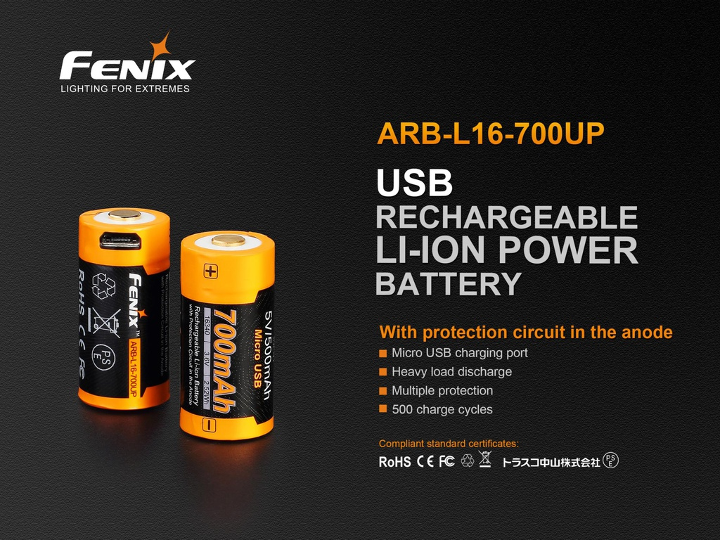 ARB-L16-700UP 16340 Li-ion Build-In USB Charging Port Rechargeable Battery with heavy load discharge
