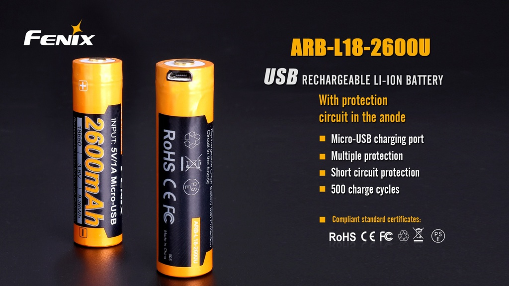 ARB-L18-2600U 18650 Li-ion Build-In USB Charging Port Rechargeable Battery