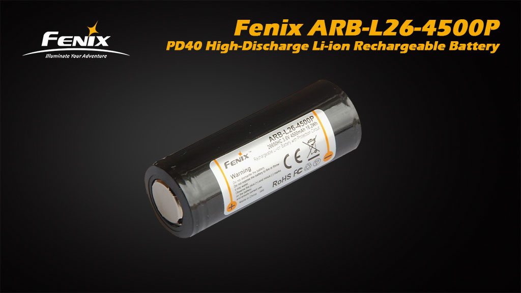 ARB-L26-4500P 26650 4500mAh High-Discharge Li-ion Rechargeable Battery for Fenix PD40