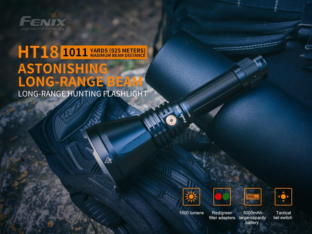 HT18 Long Range Hunting Flashlight with 5000mAh USB Rechargeable Battery