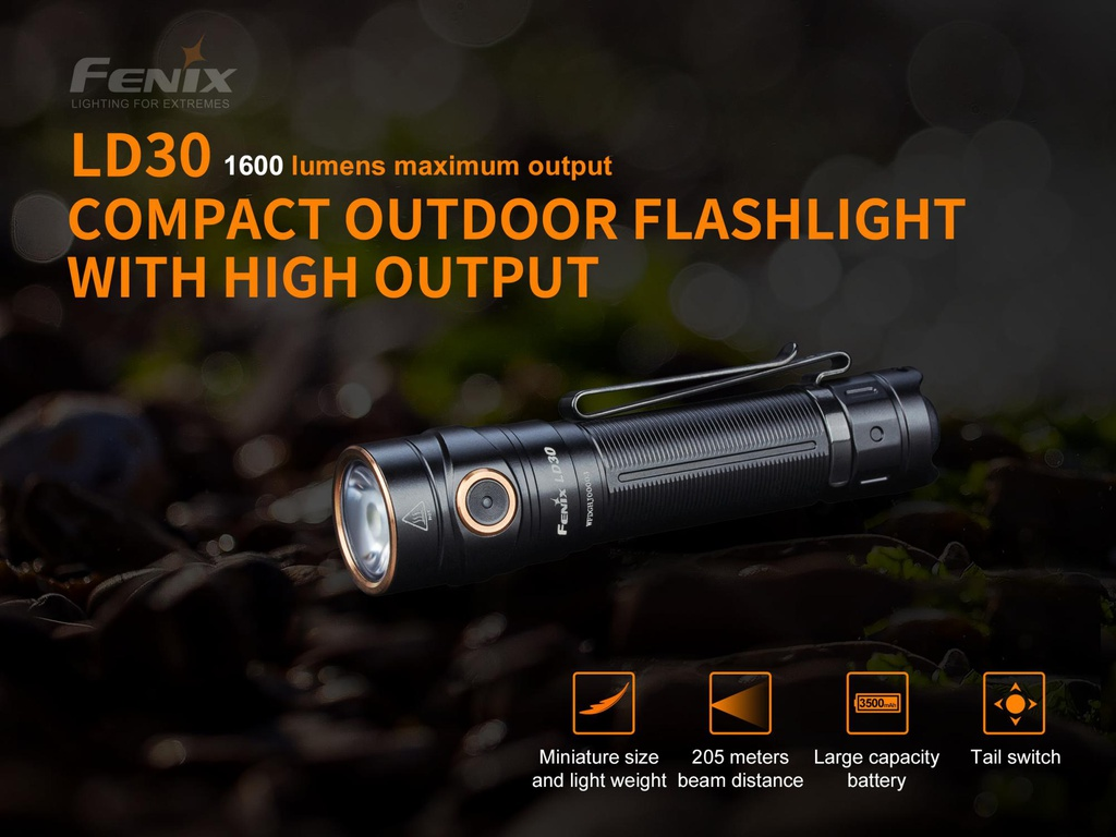 Fenix LD30 Ultra Compact Outdoor Flashlight with 3500 mAh USB Rechargeable Battery