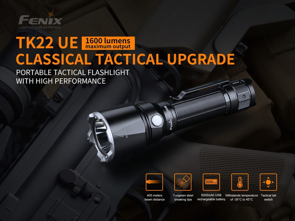 TK22UE Portable High-Performance Tactical Flashlight with 5000mAh USB Rechargeable Battery